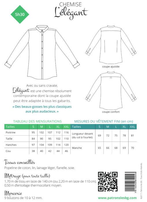 Verso livret chemise elegant BG